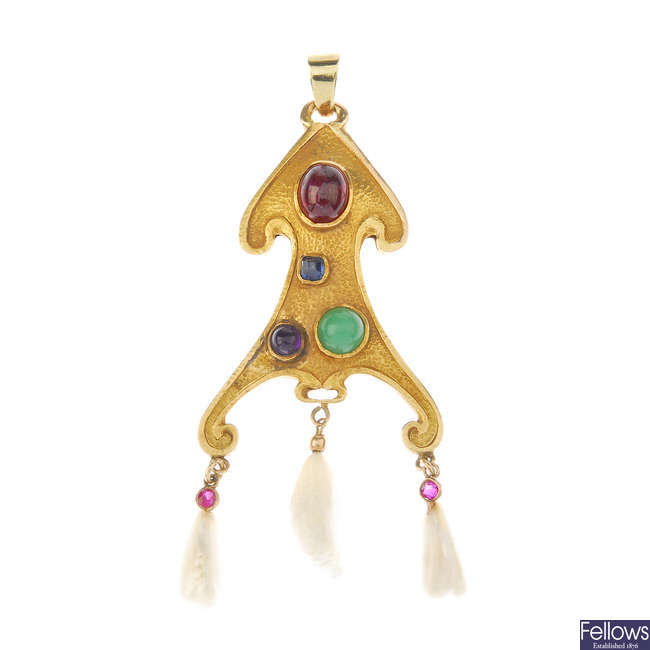 A mid 20th century gem-set pendant.