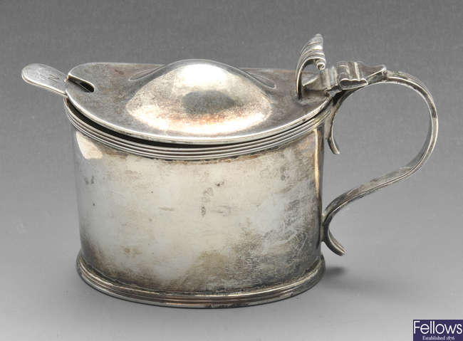 A late Victorian silver mustard pot, etc.