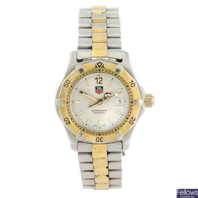 TAG HEUER - a lady's bi-colour 2000 Series bracelet watch.