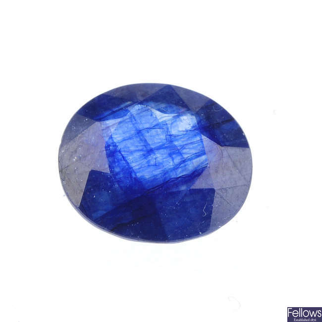 An oval-shape sapphire, weighing 4.20cts.