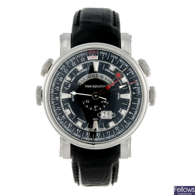 ARNOLD & SON - a gentleman's stainless steel World Timer Mean Solar Time wrist watch.