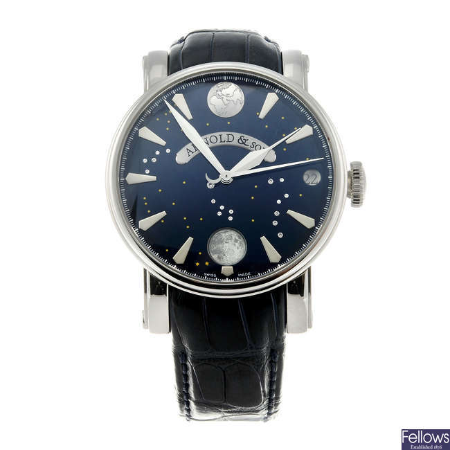 ARNOLD & SON - a gentleman's stainless steel True Moon wrist watch.
