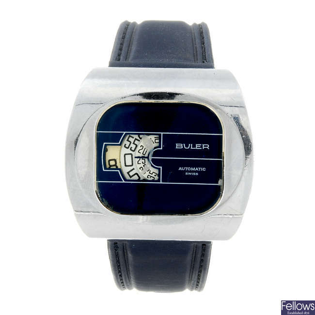 BULER - a gentleman's nickel plated jump hour wrist watch.