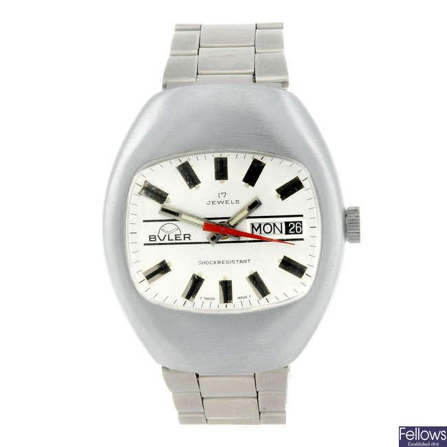 BULER - a gentleman's nickel plated bracelet watch.