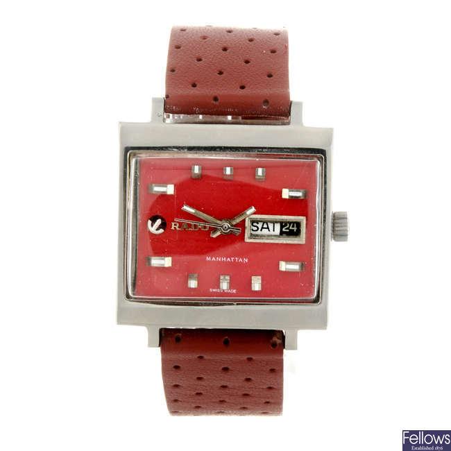 RADO - a gentleman's stainless steel Manhattan wrist watch.