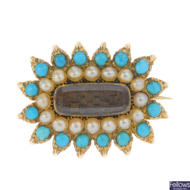 A late 19th century gold gem-set memorial brooch.