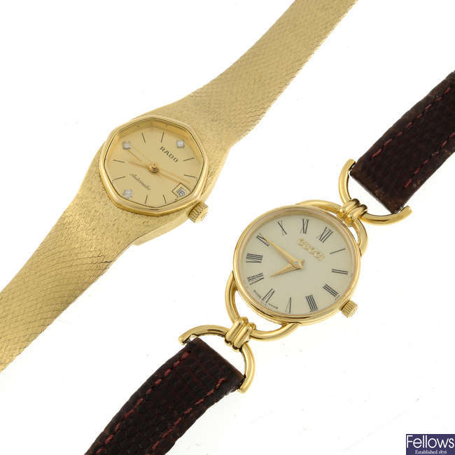 RADO - a lady's gold plated bracelet watch with a Gucci wrist watch