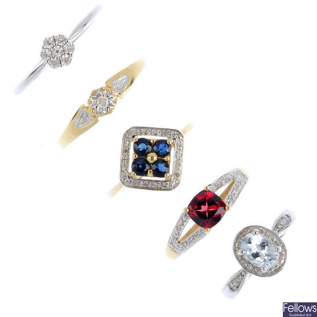 Five 9ct gold diamond and gem-set rings.