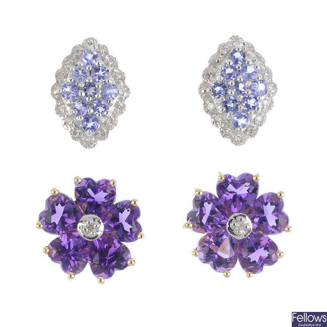 Two pairs of 9ct gold diamond and gem-set earrings.