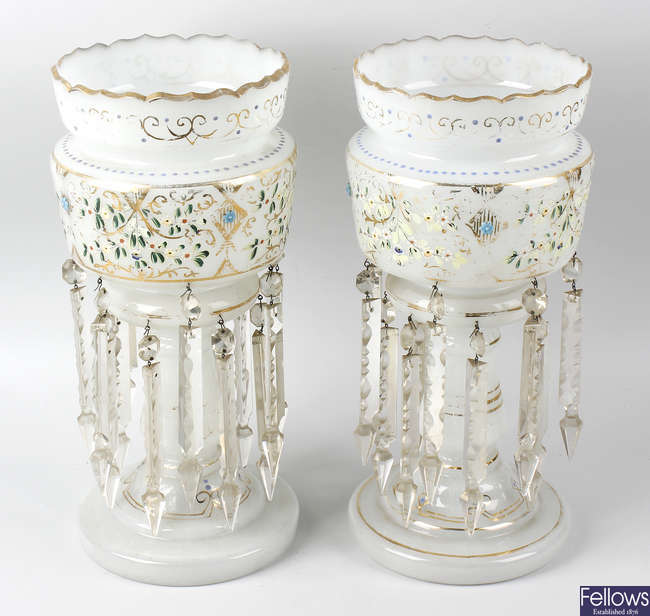 A pair of late 19th century opaque white glass table lustres.