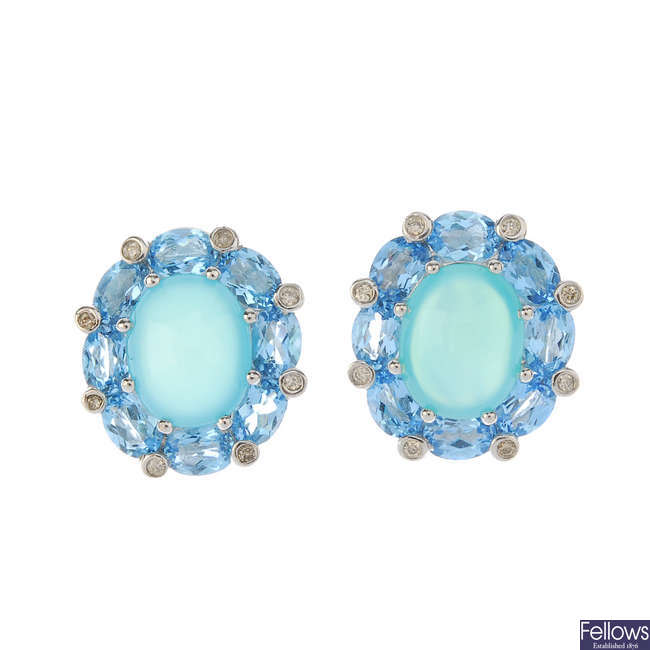 A pair of dyed chalcedony, topaz and diamond earrings.