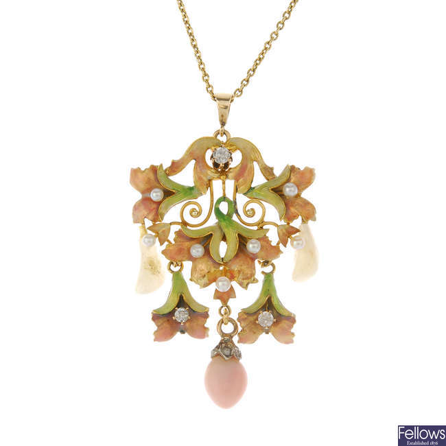 An early 20th century enamel, diamond and gem-set floral pendant.
