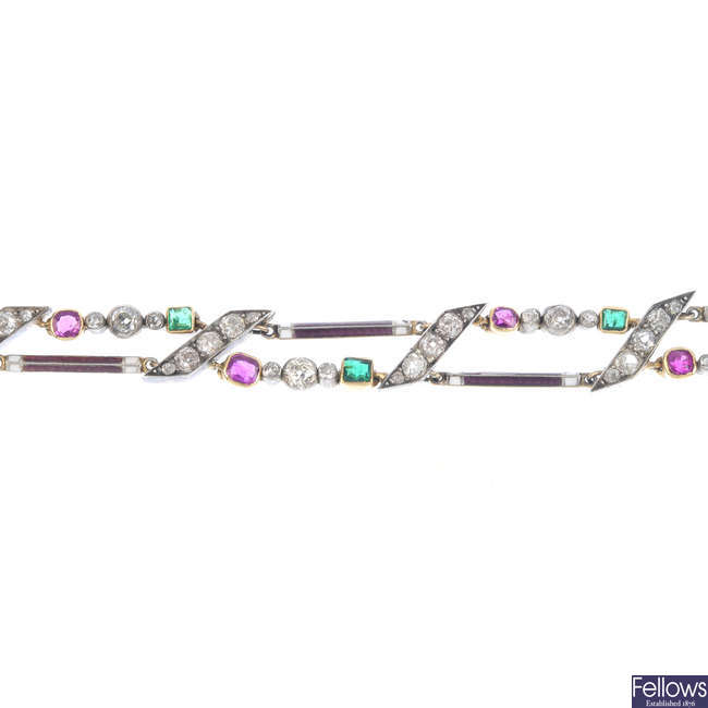 A late 19th century silver and gold, ruby, diamond, emerald and enamel bracelet.