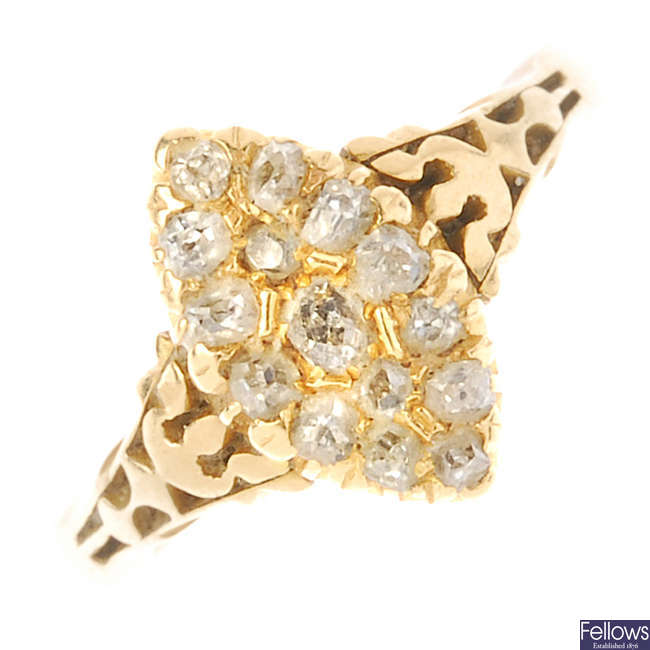 A late 19th century 18ct gold diamond cluster ring.