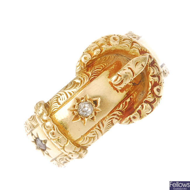 An early Victorian 18ct gold diamond and sapphire buckle ring.
