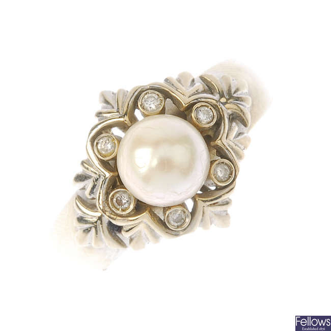 A cultured pearl and diamond ring.