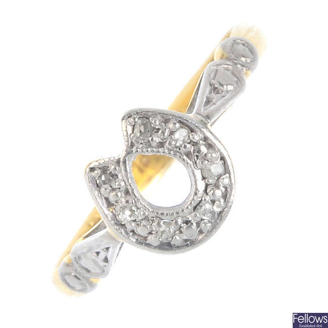 An early 20th century 18ct gold and platinum, diamond horseshoe ring.