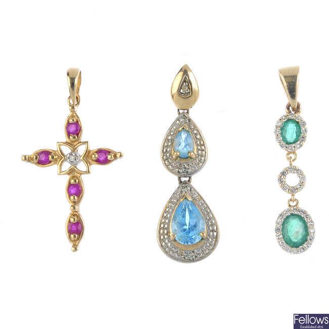 Three 9ct gold diamond and gem-set pendants.