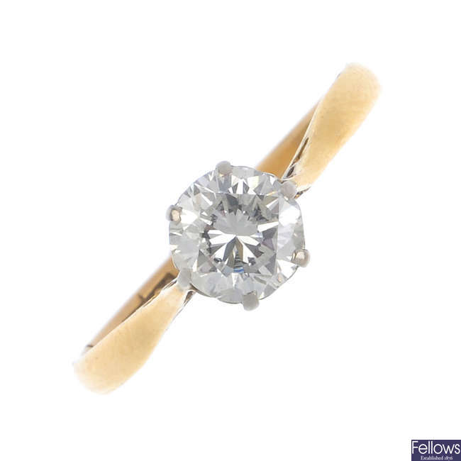 A 22ct gold diamond single-stone ring.