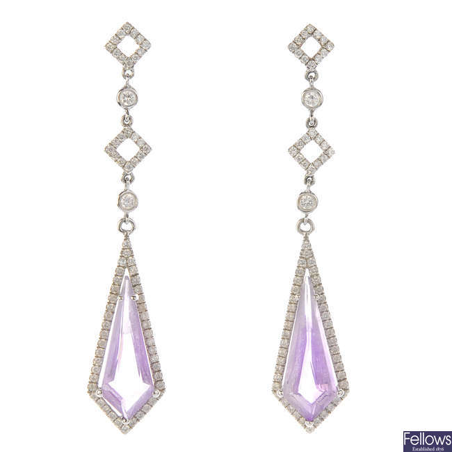 A pair of 18ct gold amethyst and diamond earrings.