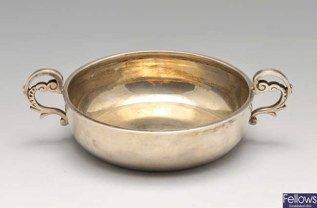 A late Victorian silver Jersey style christening bowl.