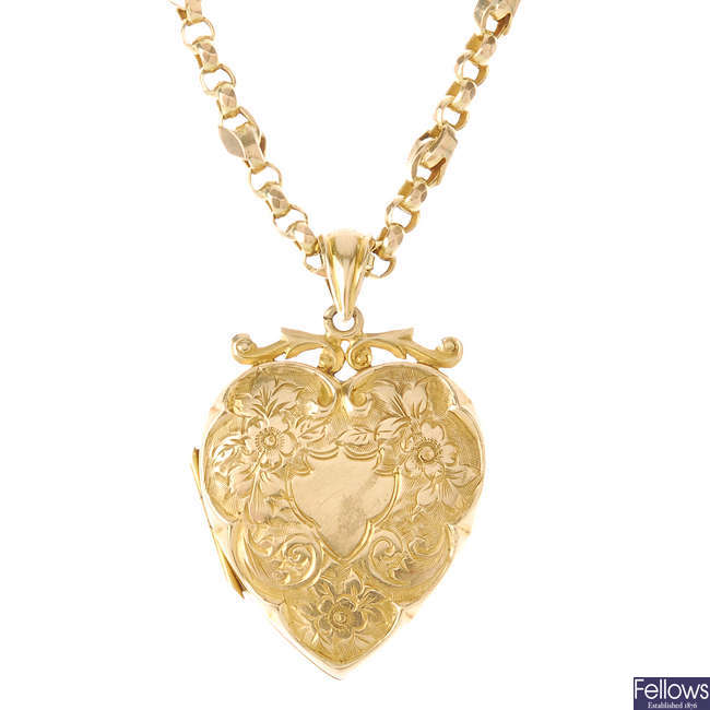 An early 20th century 9ct gold heart locket, with late Victorian 9ct gold chain.