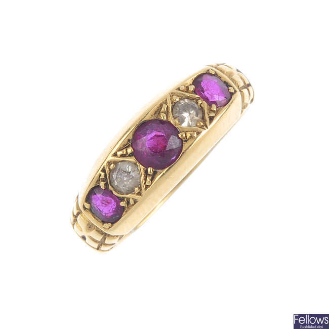 An early 20th century 18ct gold ruby and diamond dress ring.