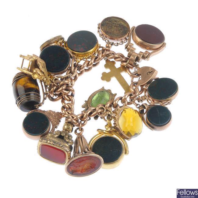 A 9ct gold charm bracelet.