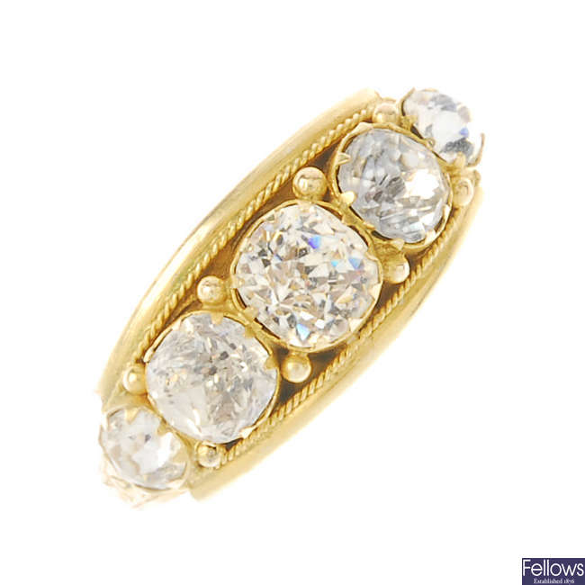 A late Victorian 9ct gold paste five-stone ring.