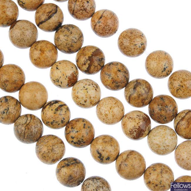 Twenty-eight gemstone bead strands.