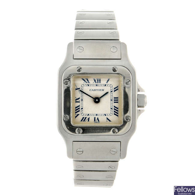 CARTIER - a stainless steel Santos bracelet watch.