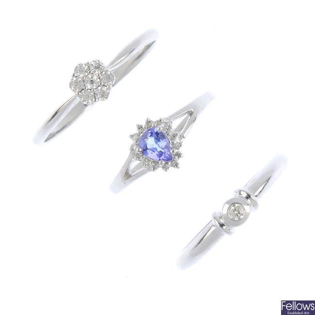 Six 9ct gold diamond and gem-set rings.