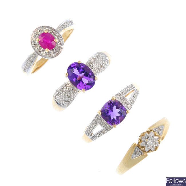 Seven diamond and gem-set rings.