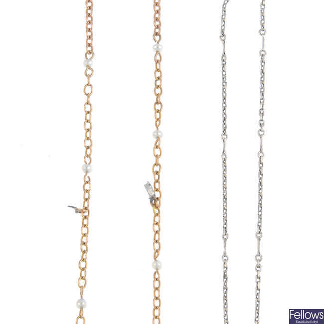 A bracelet and two seed pearl-set chain lengths.