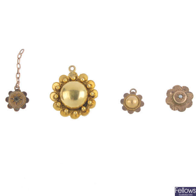 Four late Victorian gold floral drops.