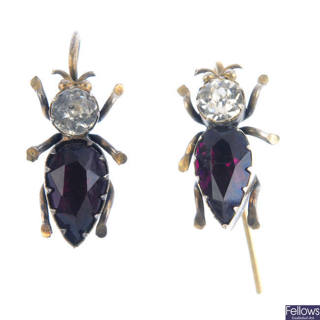 A pair of late Victorian silver gilt paste insect earrings, with case.