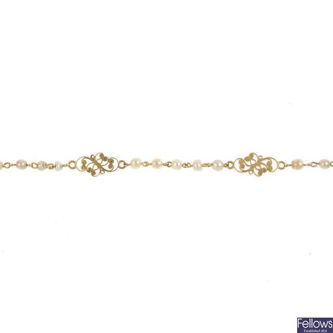 A seed pearl bracelet.