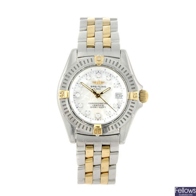 BREITLING - a lady's stainless steel Windrider Callistino bracelet watch.