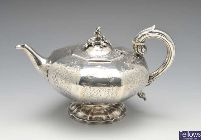 An early Victorian silver teapot.