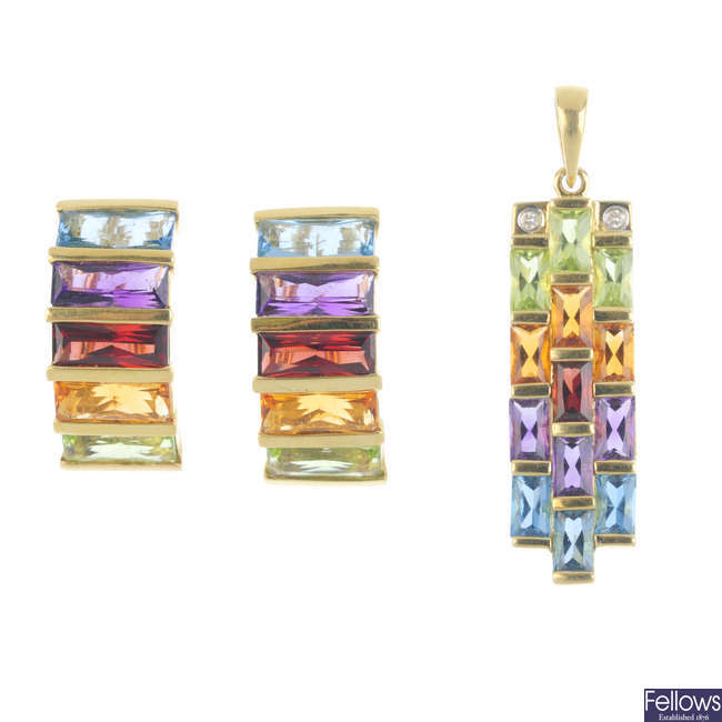 A pair of multi-gem earrings and pendant.