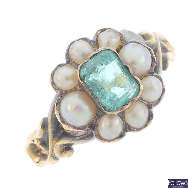A mid Victorian gold emerald and split pearl ring.