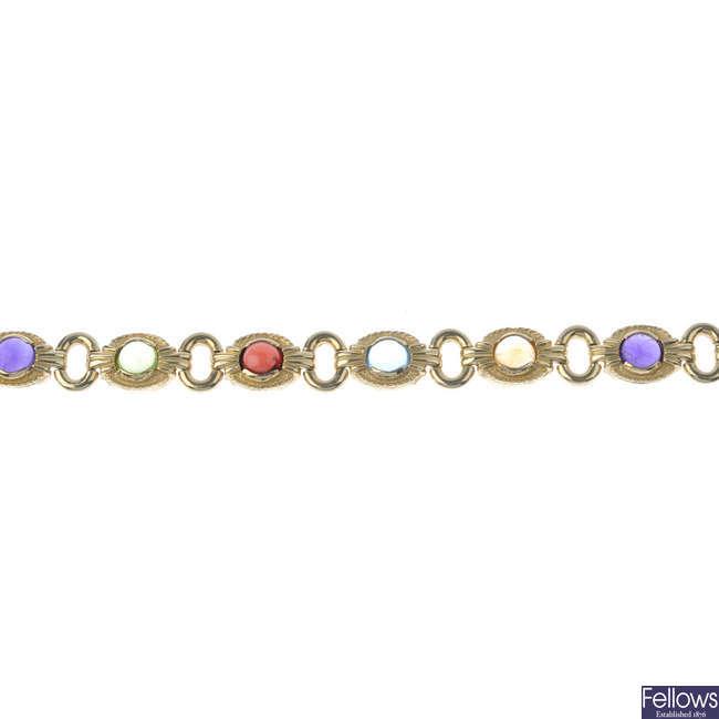 A multi-gem bracelet.