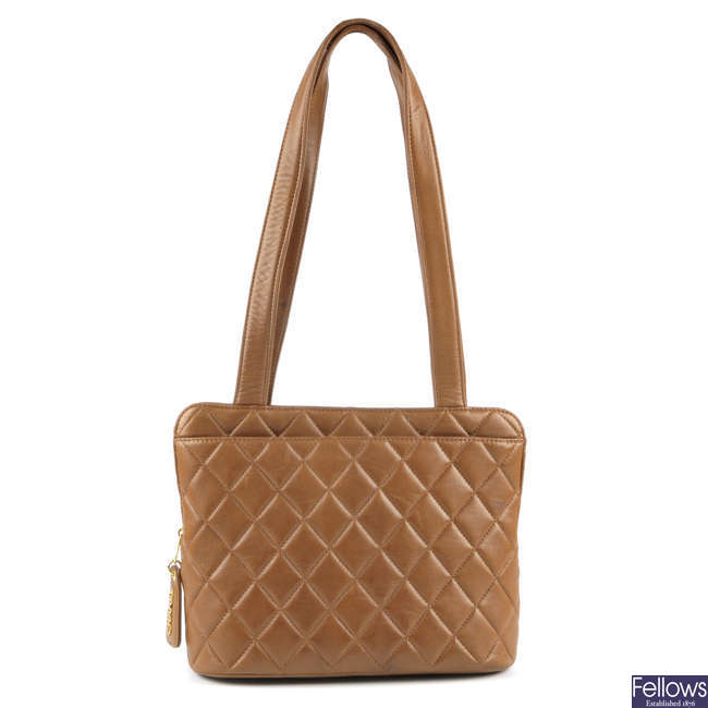 CHANEL - a 90s brown Matelass� shoulder bag.