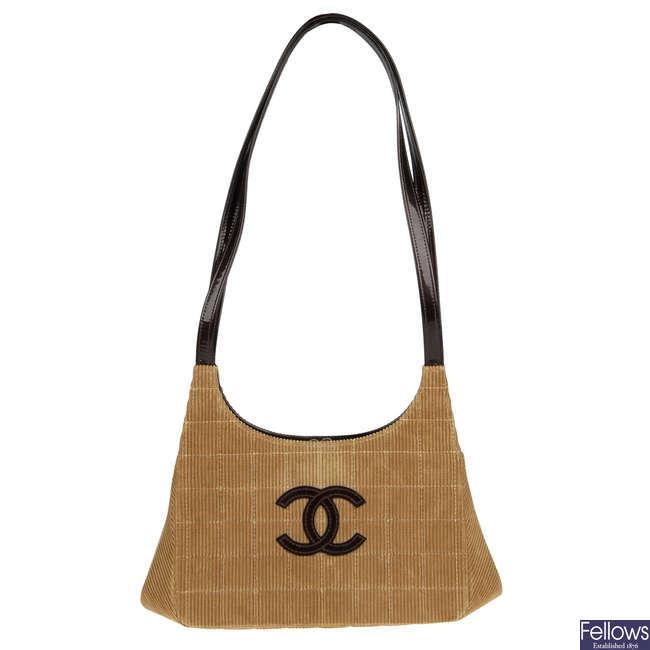 CHANEL - a corduroy Chocobar handbag.