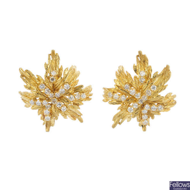 A pair of 1960s 18ct gold diamond earrings.