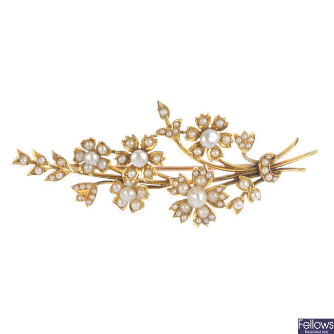 An early 20th century 15ct gold seed and split pearl floral spray brooch.