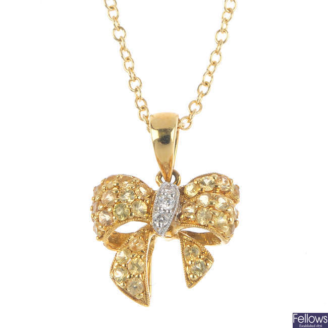 An 18ct gold sapphire and diamond pendant, with chain.
