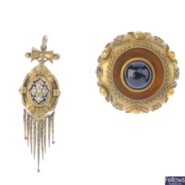A late Victorian seed pearl and enamel pendant and a late Victorian garnet brooch.