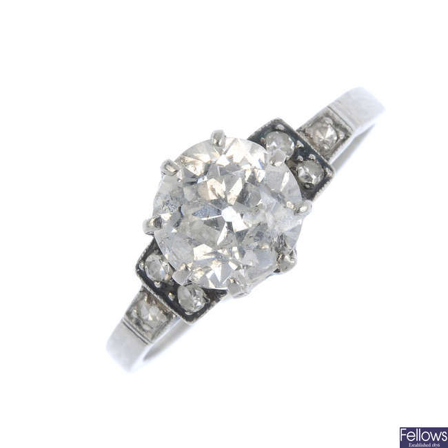 A mid 20th century diamond single-stone ring.
