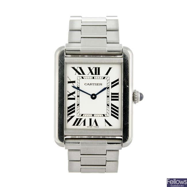 CARTIER - a stainless steel Tank Solo bracelet watch.
